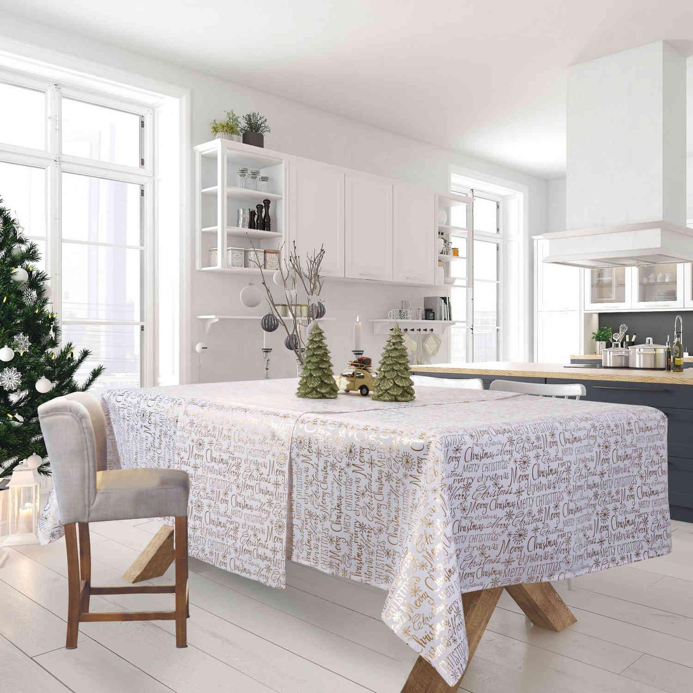 Τραπεζομάντηλο Χριστουγεννιάτικο 0575 Ecru-Gold Das Home 150X200