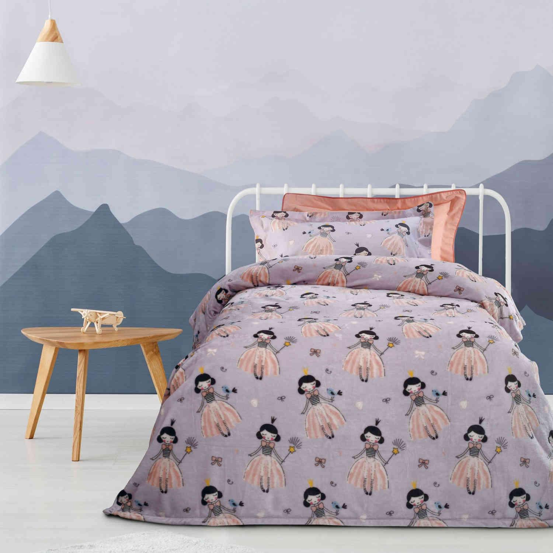 Κουβέρτα Παιδική 4656 Fleece Lila Das Kids Μονό 160x220cm