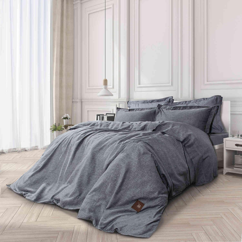 Σεντόνια Σετ 4Τμχ. 2037 Queen Premium Grey G.P.C. Υπέρδιπλo 230x260cm