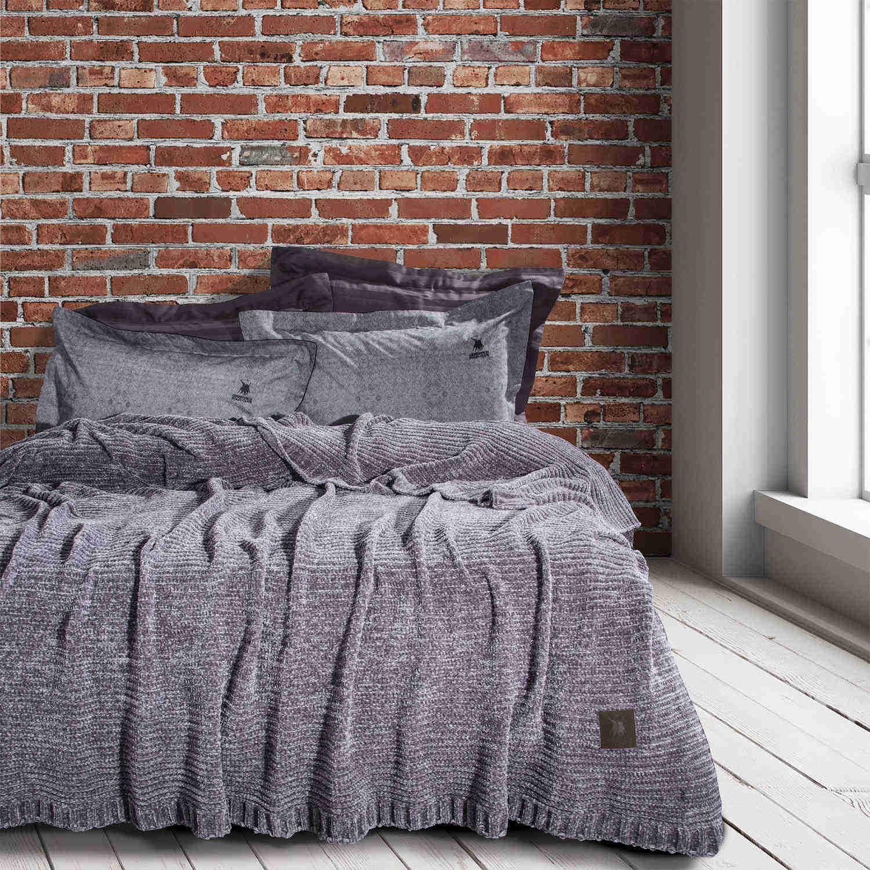 Κουβέρτα 2421 Chenille Grey Premium G.P.C. Υπέρδιπλo 220x240cm
