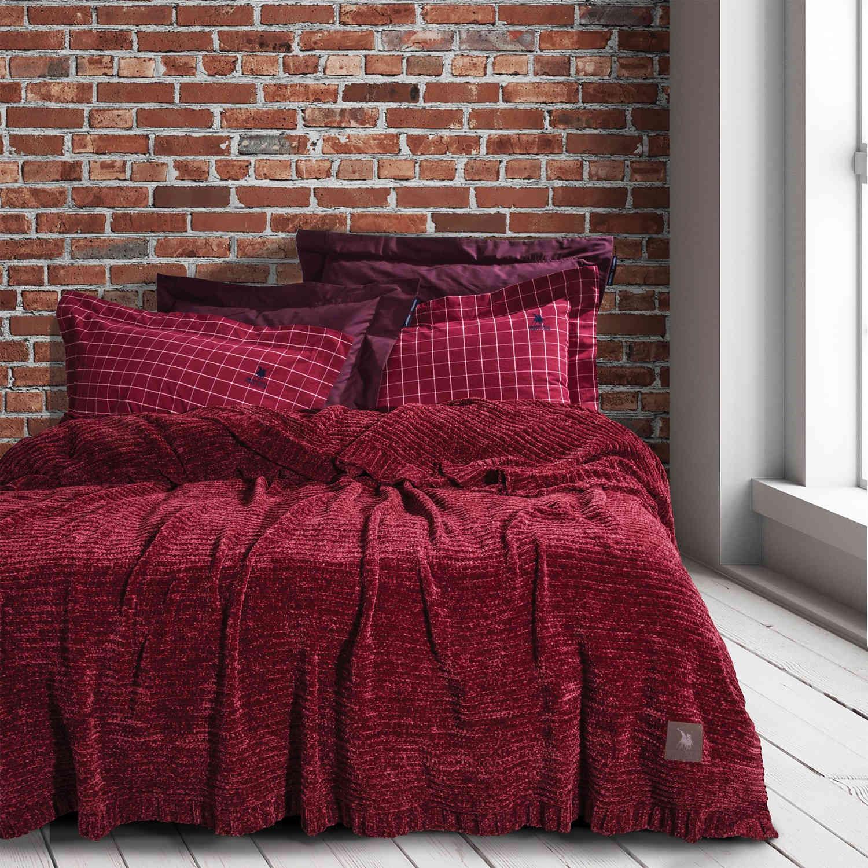 Κουβέρτα 2422 Chenille Bordo Premium G.P.C. Υπέρδιπλo 220x240cm
