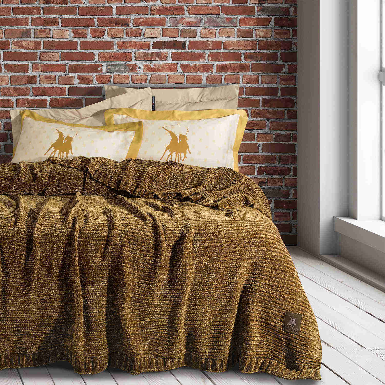 Κουβέρτα 2423 Chenille Yellow Premium G.P.C. Υπέρδιπλo 220x240cm