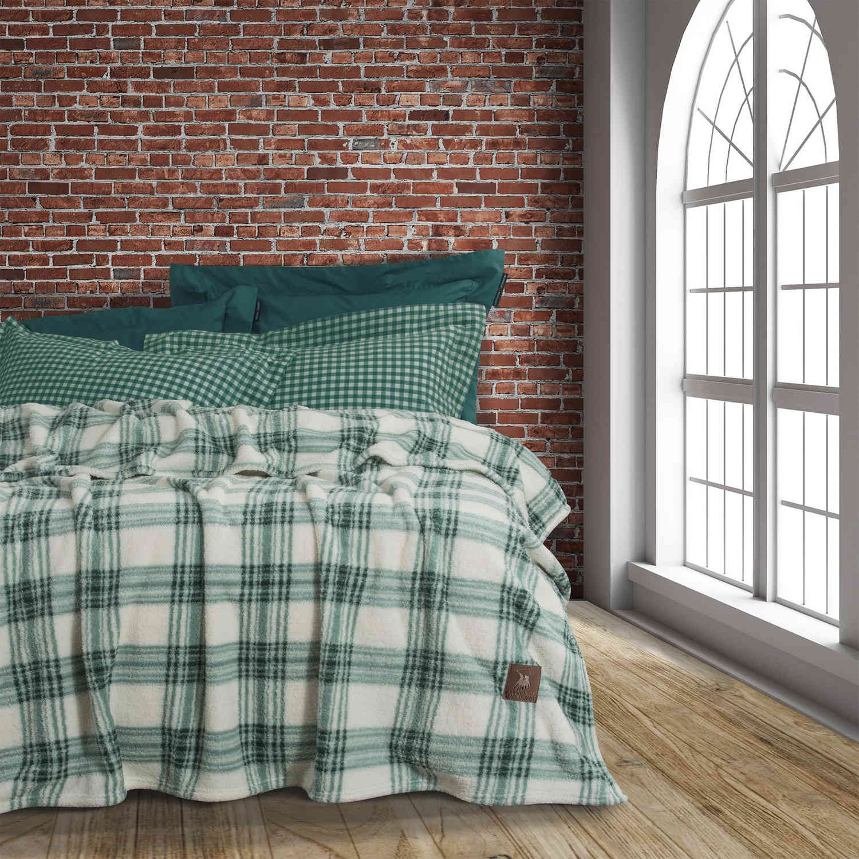 Κουβέρτα 2432 Sherpa Green-Beige G.P.C. Μονό 160x240cm