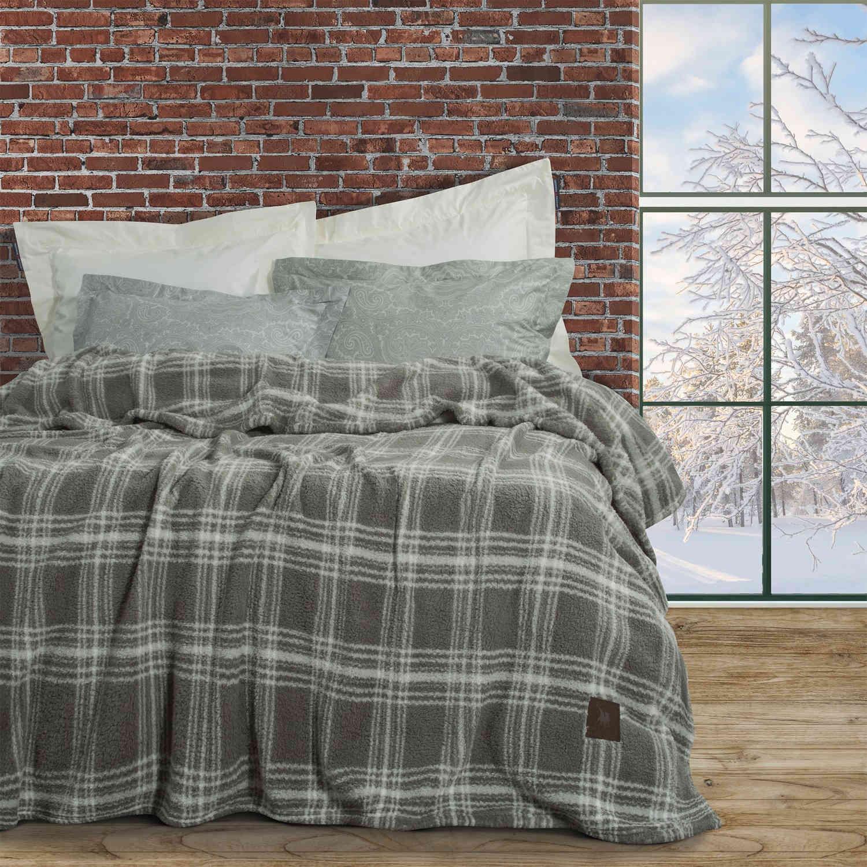 Κουβέρτα 2433 Sherpa Grey-Beige G.P.C. Υπέρδιπλo 220x240cm