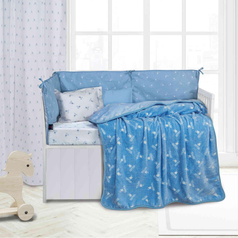 Κουβέρτα 2948 Fleece Baby White-Ciel G.P.C Κούνιας 110x150cm