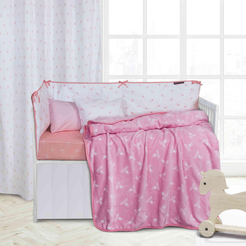 Κουβέρτα 2949 Fleece Baby White-Pink G.P.C Κούνιας 110x150cm