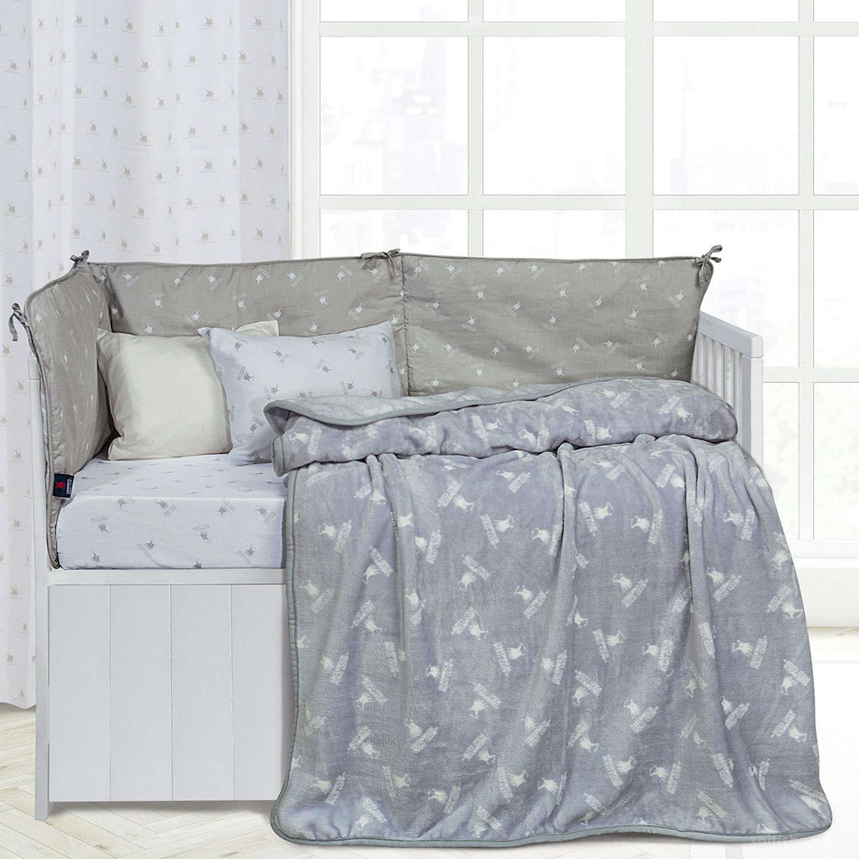 Κουβέρτα 2950 Fleece Baby White-Grey G.P.C Κούνιας 110x150cm