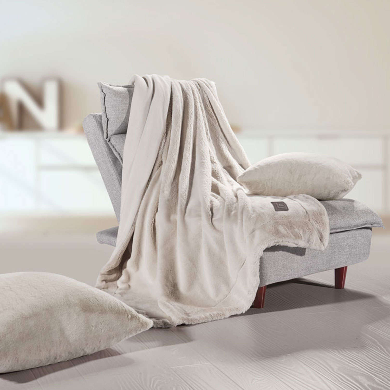Κουβέρτα Καναπέ Σετ Με Διακοσμητική Μαξιλαροθήκη Fox Beige Guy Laroche 150X180 130x170cm