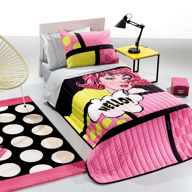 Παπλωματοθήκη Παιδική Pop Art Suede Pink – Multi Saint Clair Μονό 160x220cm