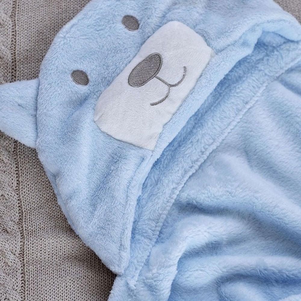 Κουβέρτα Βρεφική Fleece Με Κουκούλα Bear Blue Palamaiki Αγκαλιάς 75x110cm