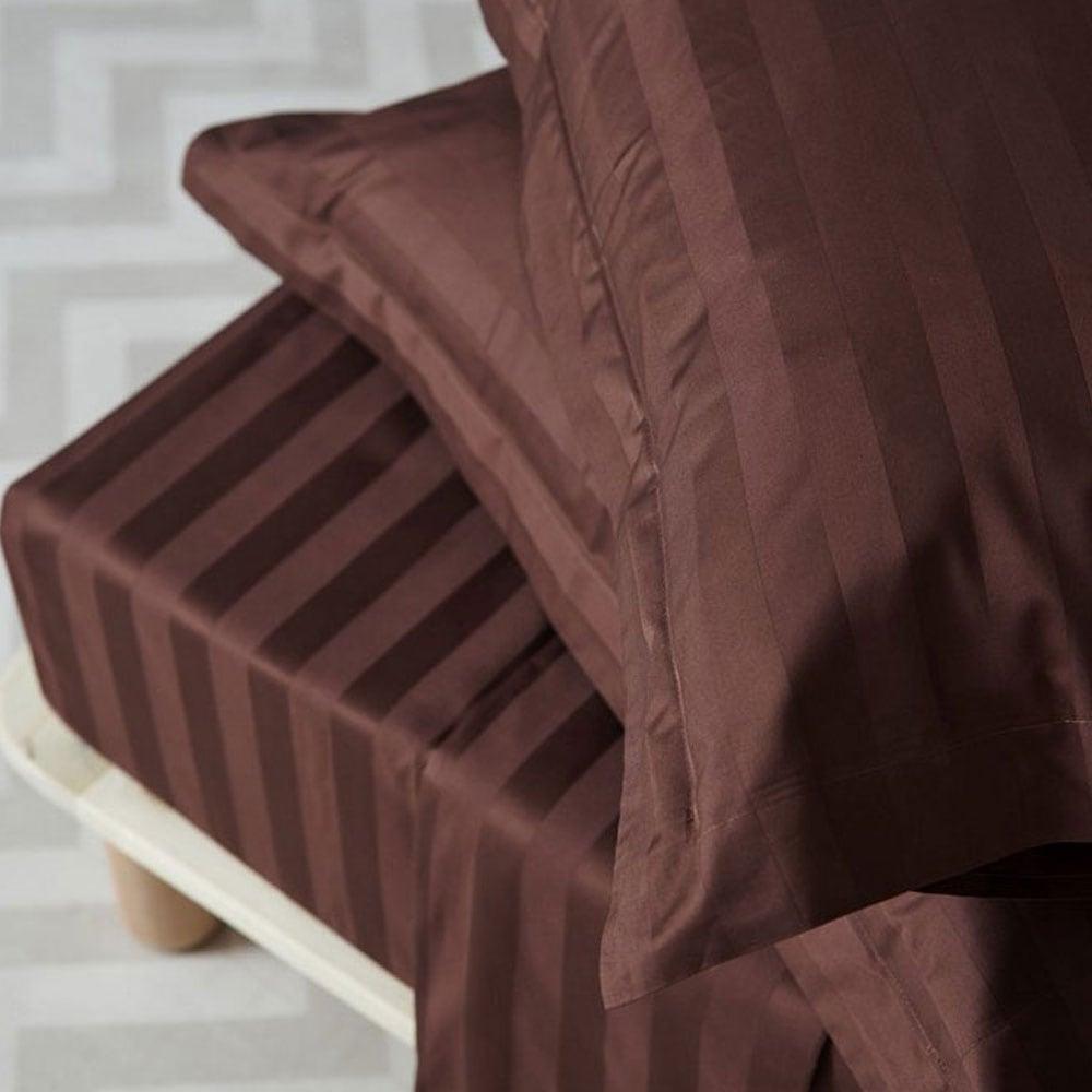 Μαξιλαροθήκες Σετ 2τμχ Satin Stripes Brown Palamaiki 55X75 50x75cm