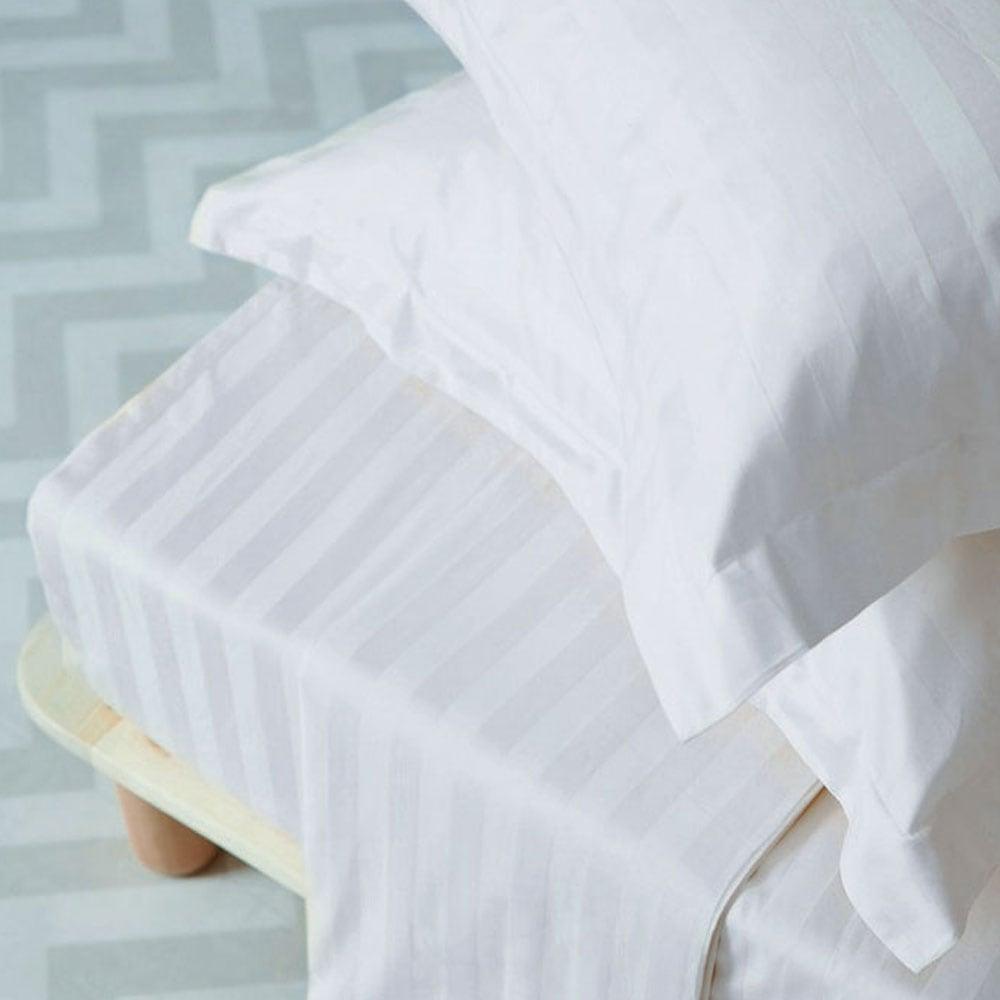 Μαξιλαροθήκες Ζεύγος Satin Stripes White Palamaiki 55X75 50x75cm