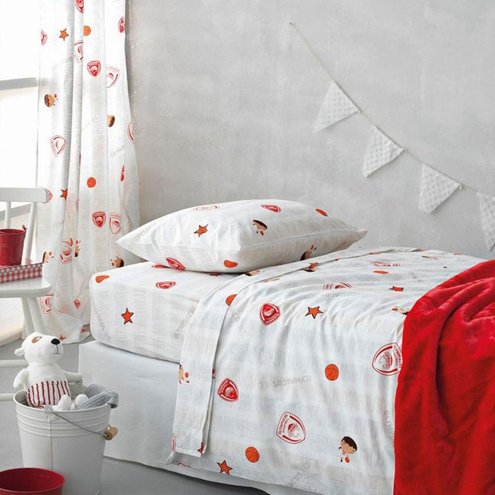 Μαξιλαροθήκες Παιδικές Σετ 2τμχ Olympiakos B.C.-3 Red Palamaiki 50x75cm