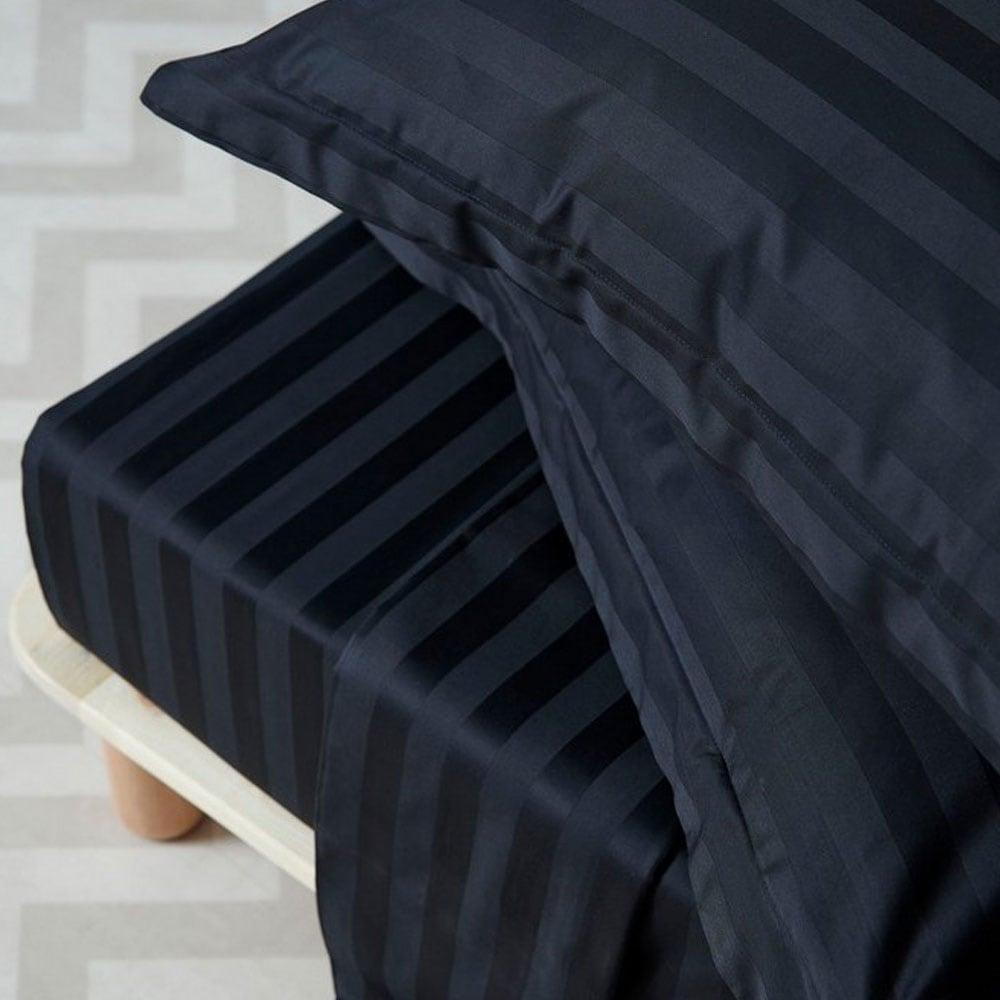 Παπλωματοθήκη Σετ Satin Stripes Black Palamaiki Υπέρδιπλo 240x255cm