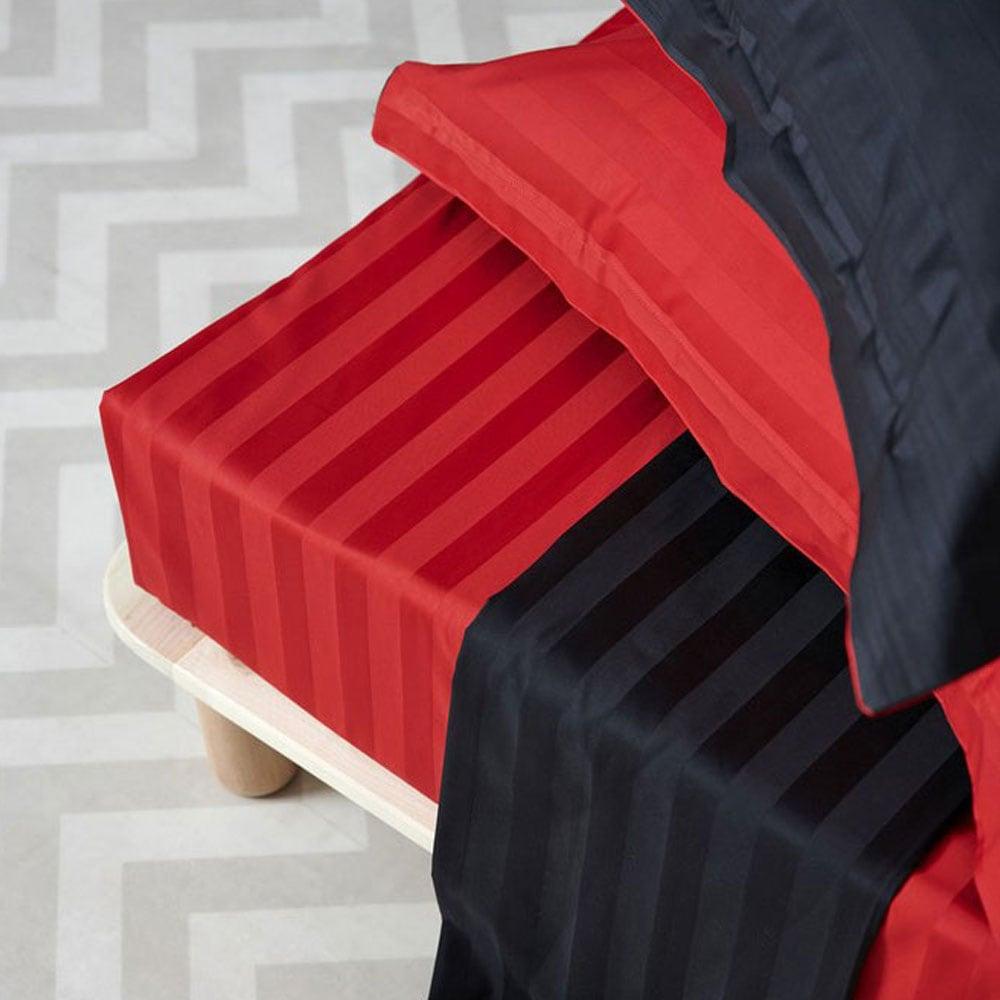 Παπλωματοθήκη Σετ Satin Stripes Red-Black Palamaiki Υπέρδιπλo 240x255cm
