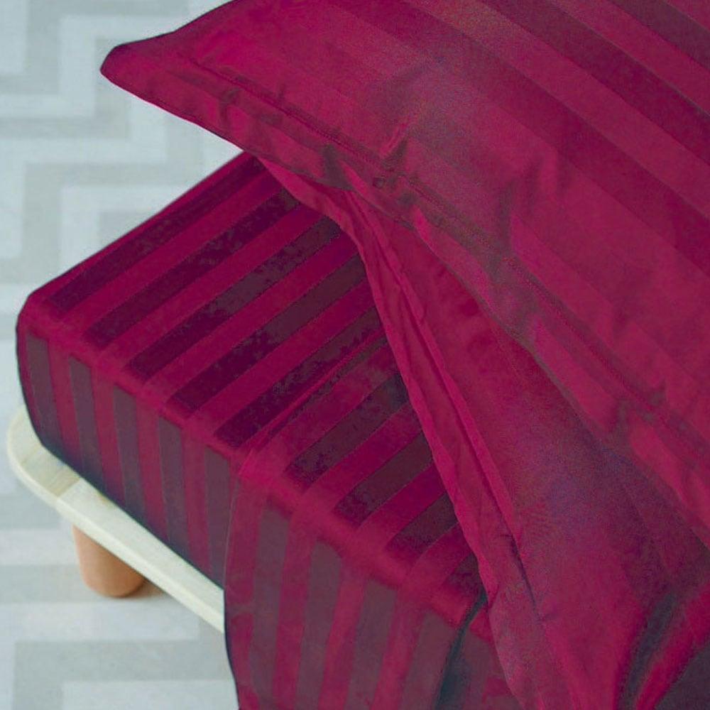 Παπλωματοθήκη Σετ Satin Stripes Pomegranate Palamaiki Υπέρδιπλo 240x255cm