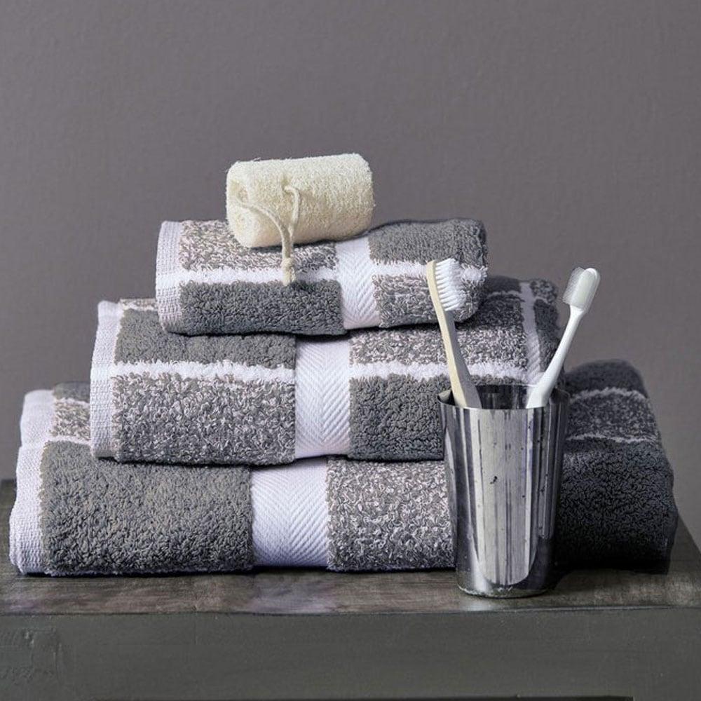 Πετσέτες Σετ 222 3τμχ Grey Palamaiki Σετ Πετσέτες