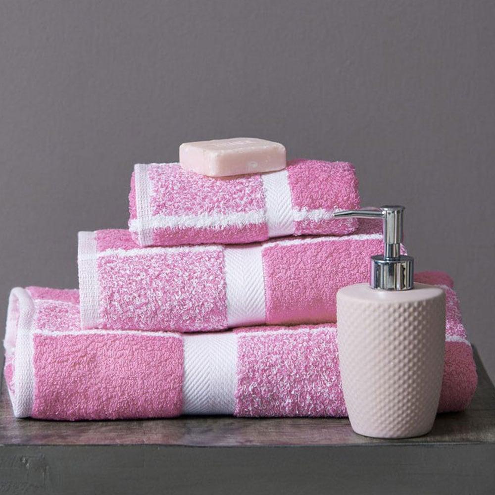 Πετσέτες Σετ 222 3τμχ Pink Palamaiki Σετ Πετσέτες