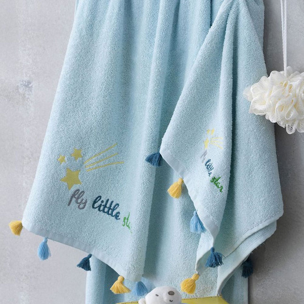Πετσέτες Παιδικές Σετ Stars 2τμχ Blue Palamaiki Σετ Πετσέτες