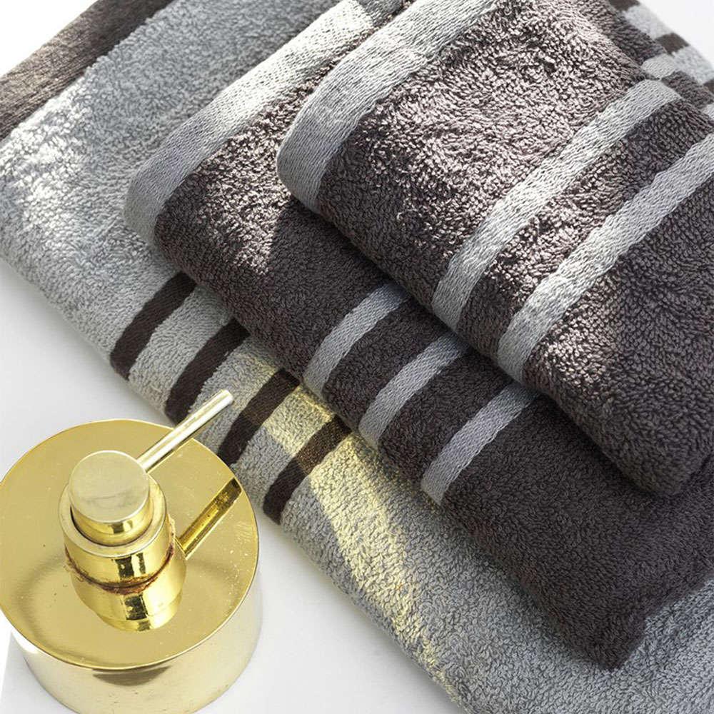 Πετσέτες Σετ Contrast 3τμχ Grey Palamaiki Σετ Πετσέτες