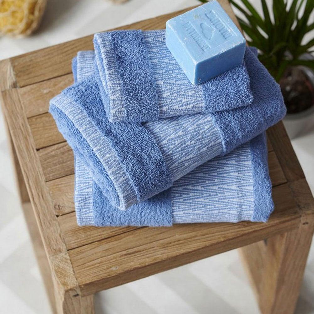 Πετσέτες Σετ Cruz 3τμχ Blue Palamaiki Σετ Πετσέτες