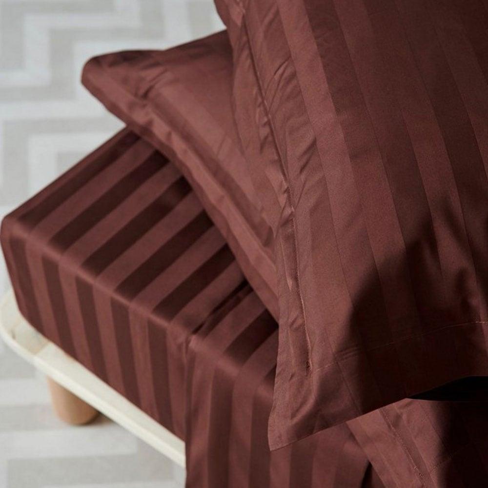 Σεντόνι Satin Stripes Brunette Palamaiki Υπέρδιπλo 240x270cm
