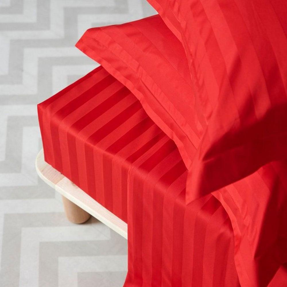 Σεντόνι Satin Stripes Red Palamaiki Υπέρδιπλo 240x270cm
