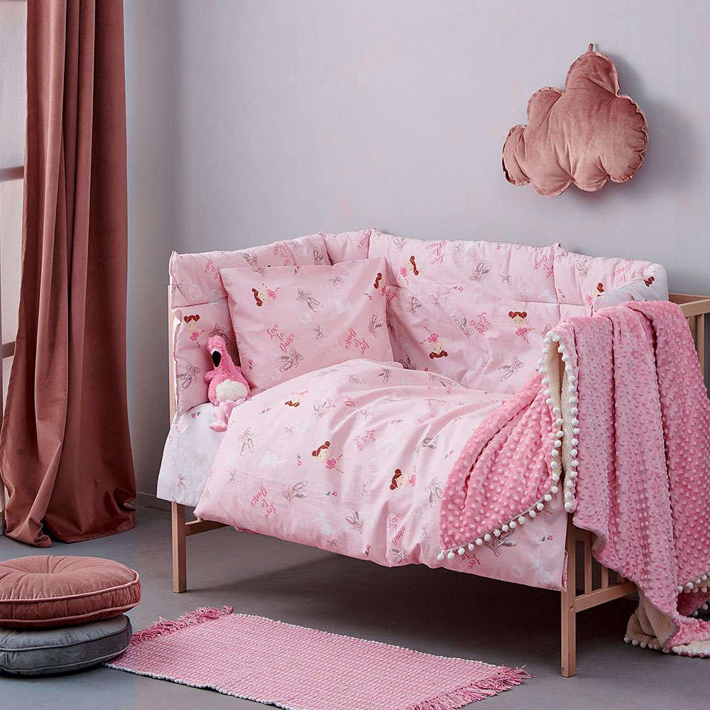 Σεντόνια Βρεφικά Με Λάστιχο Σετ 3τμχ MK719 Pink Palamaiki Κούνιας 130x170cm
