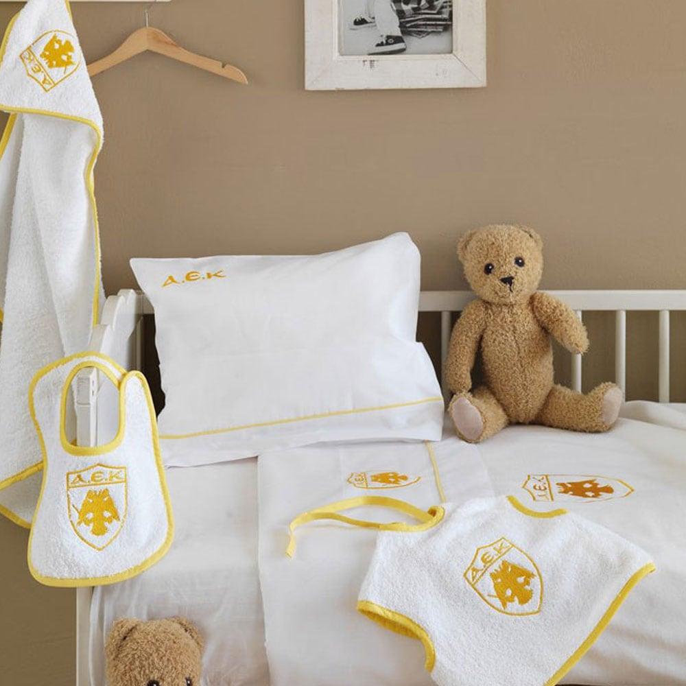 Σεντόνια Βρεφικά Σετ AEK Baby Yellow Palamaiki Κούνιας 130x180cm