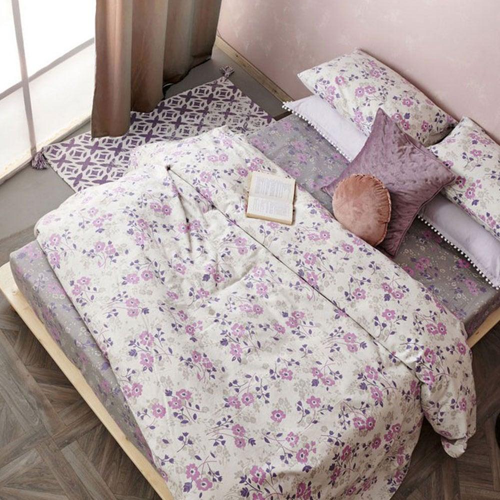 Σεντόνια Σετ 4Τμχ. FB0209 Grey-Purple Palamaiki Υπέρδιπλo 240x265cm