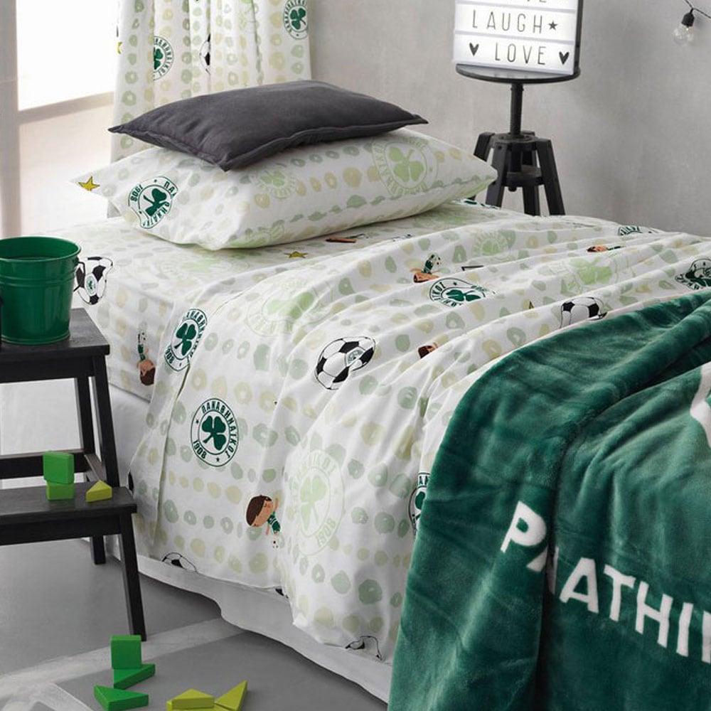 Σεντόνια Παιδικά Με Λάστιχο Σετ 3τμχ Panathinaikos F.C.-6 Green Palamaiki Ημίδιπλο