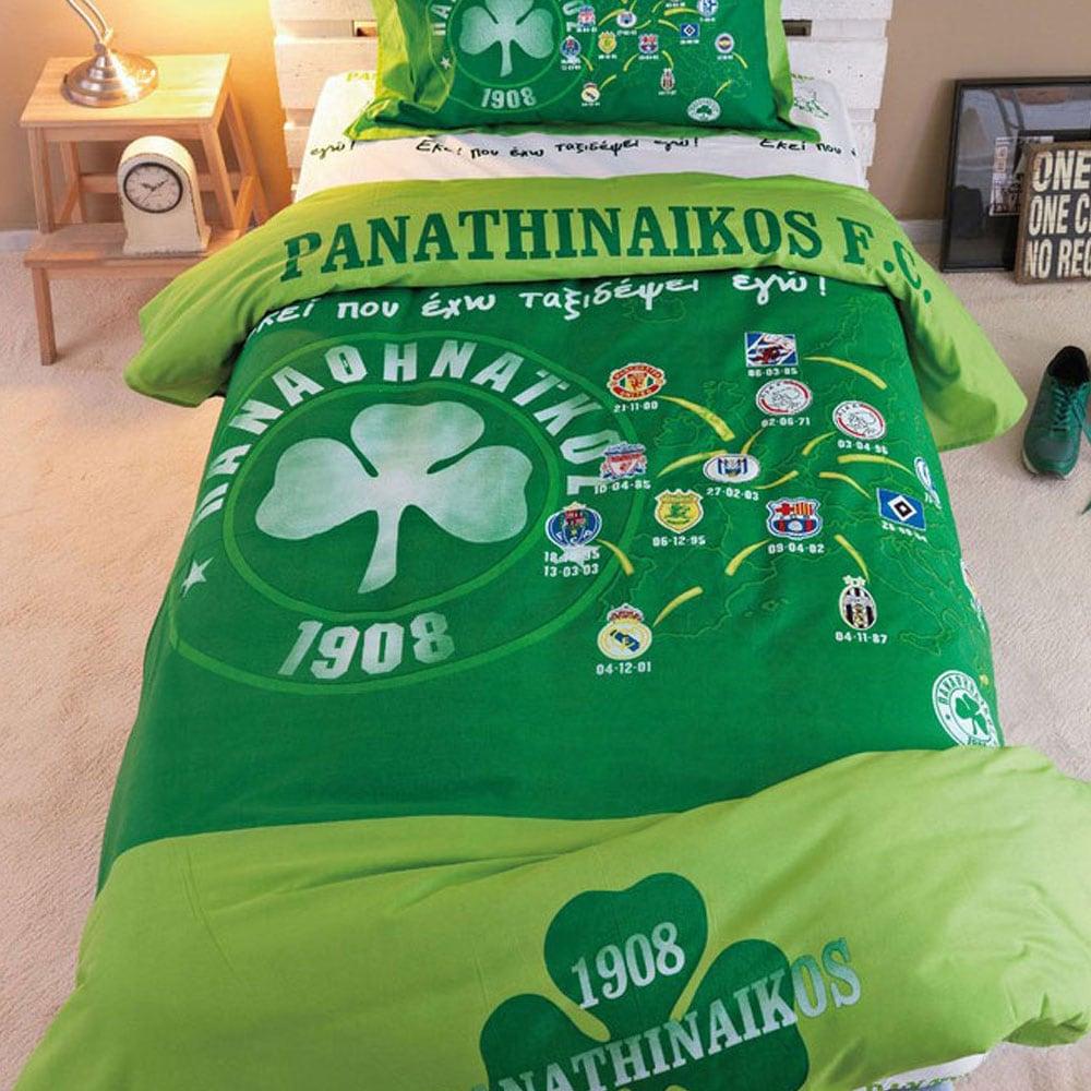 Σεντόνια Παιδικά Σετ 3τμχ Panathinaikos FC-3 Green Palamaiki Ημίδιπλο 170x260cm