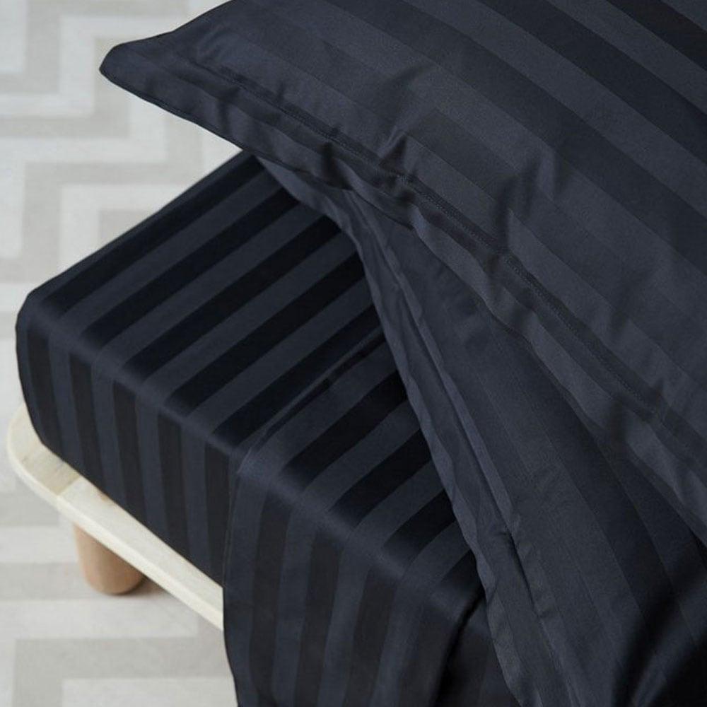 Σεντόνια Σετ 4Τμχ. Satin Stripes Black Palamaiki Υπέρδιπλo