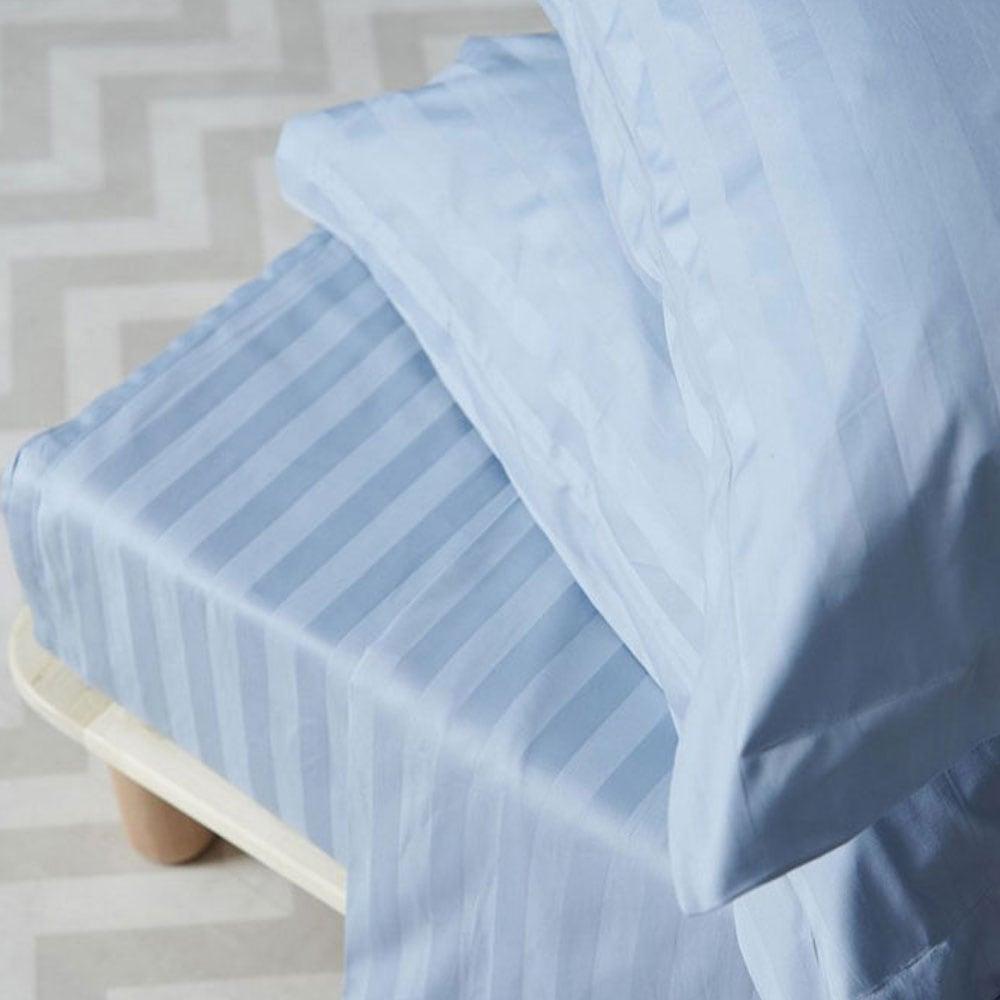 Σεντόνια Σετ 4Τμχ. Satin Stripes Blue Palamaiki Υπέρδιπλo