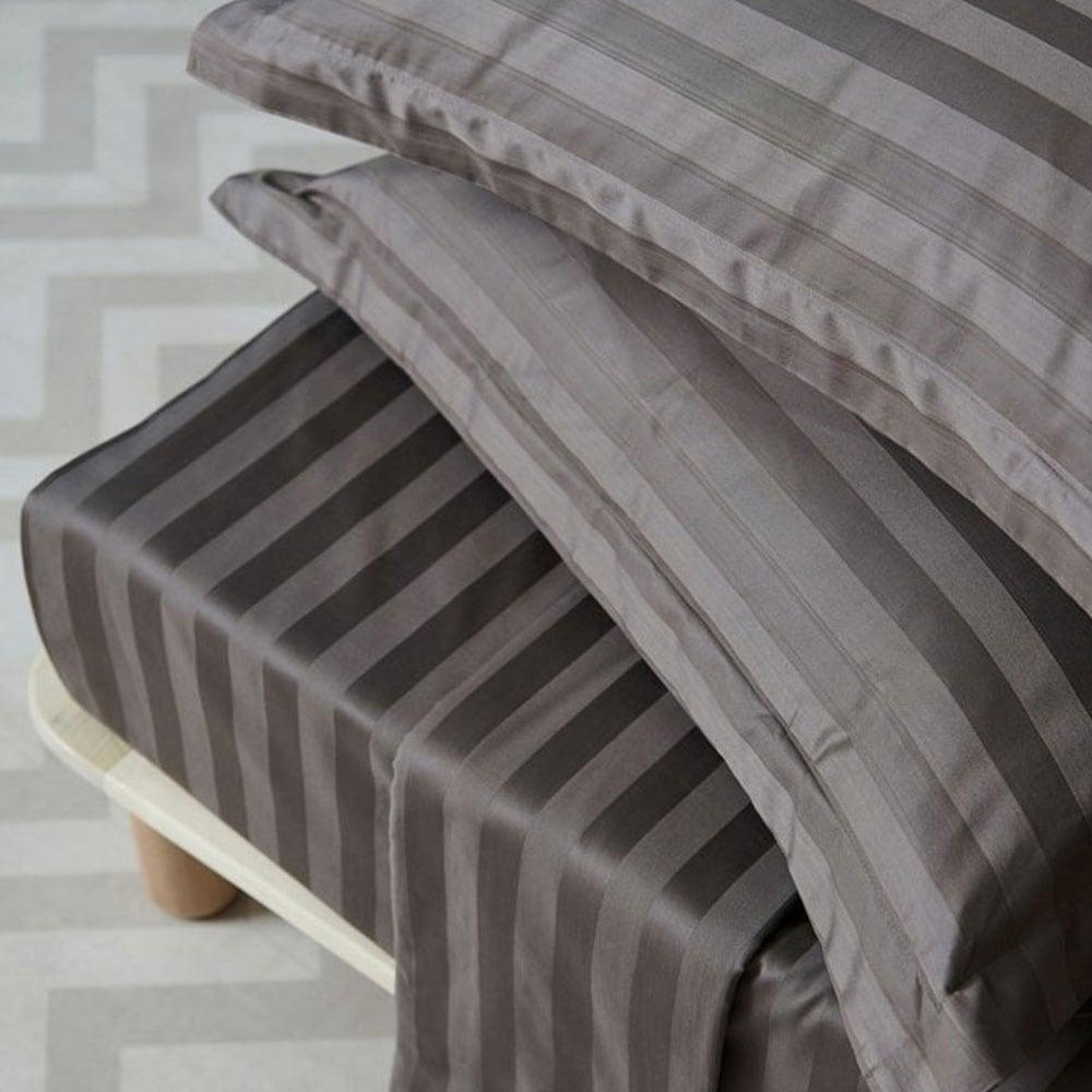 Σεντόνια Σετ 4Τμχ. Satin Stripes Cement Palamaiki Υπέρδιπλo