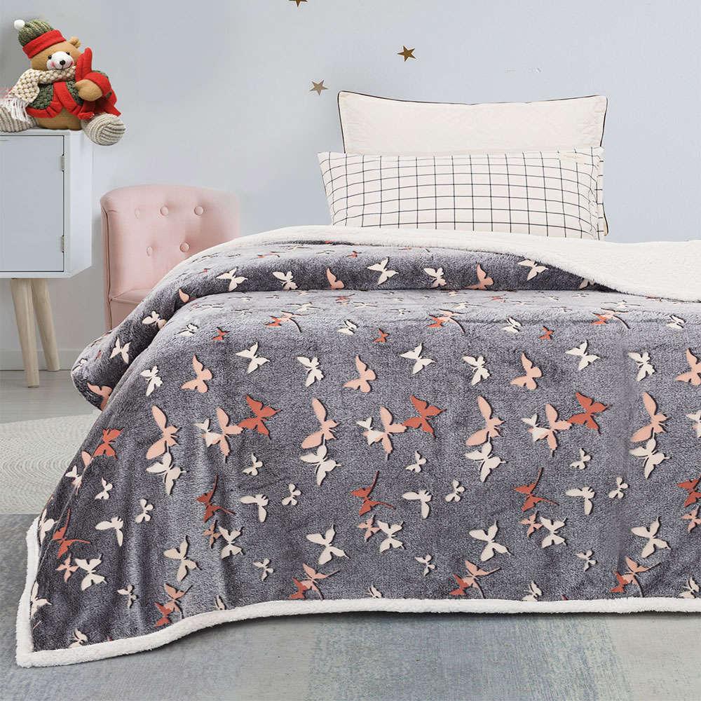 Κουβέρτα Βρεφική Φωσφοριζέ Farfalla Grey Palamaiki Κούνιας