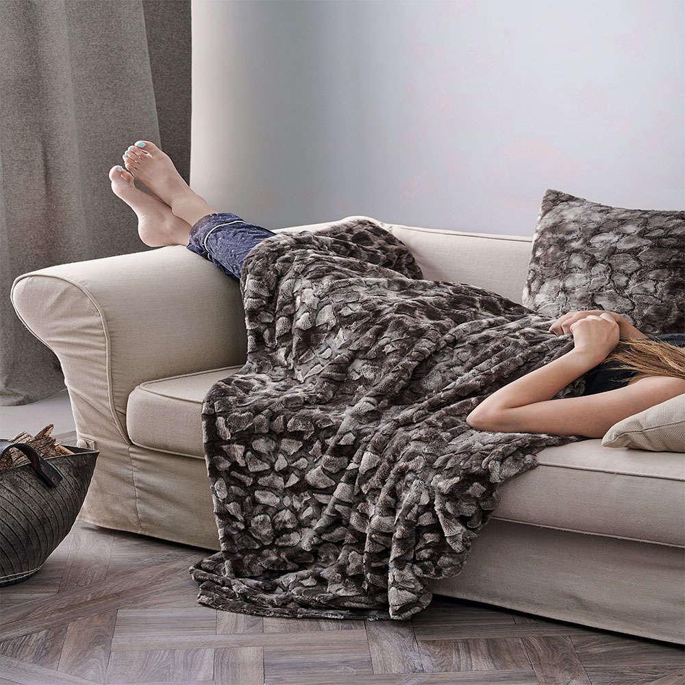 Κουβέρτα Καναπέ Galena Dark Grey Palamaiki 150X180