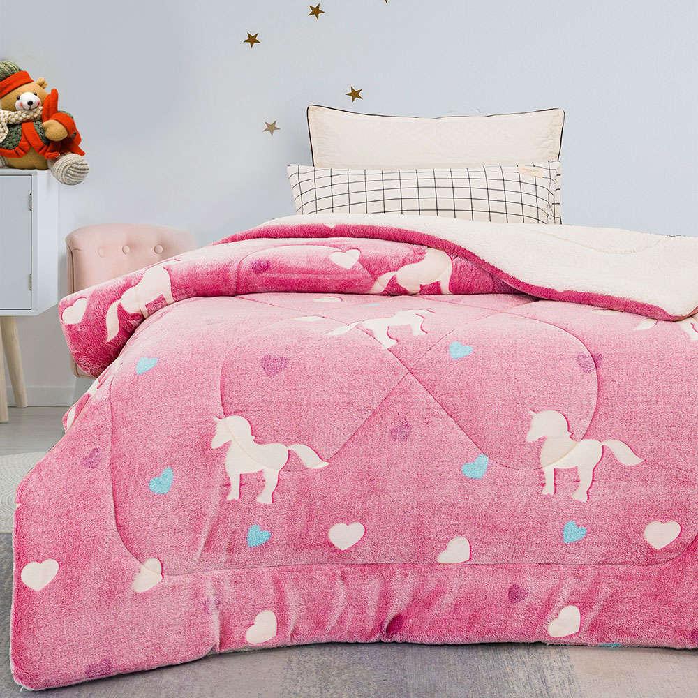 Κουβερτοπάπλωμα Παιδικό Φωσφοριζέ Corazon Pink Palamaiki Ημίδιπλο 160x220cm