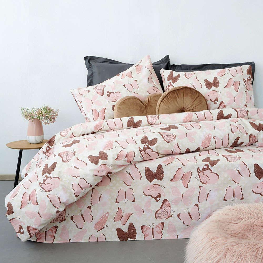 Σεντόνια FL6103 Fashion Life Με Λάστιχο Σετ 4τμχ Pink Palamaiki Υπέρδιπλo 170x230cm