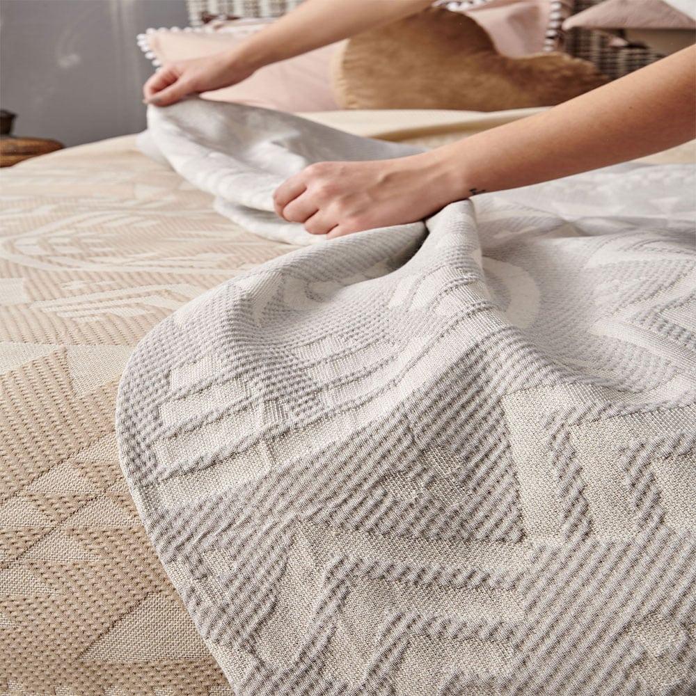 Κουβέρτα Native Grey Palamaiki Υπέρδιπλo