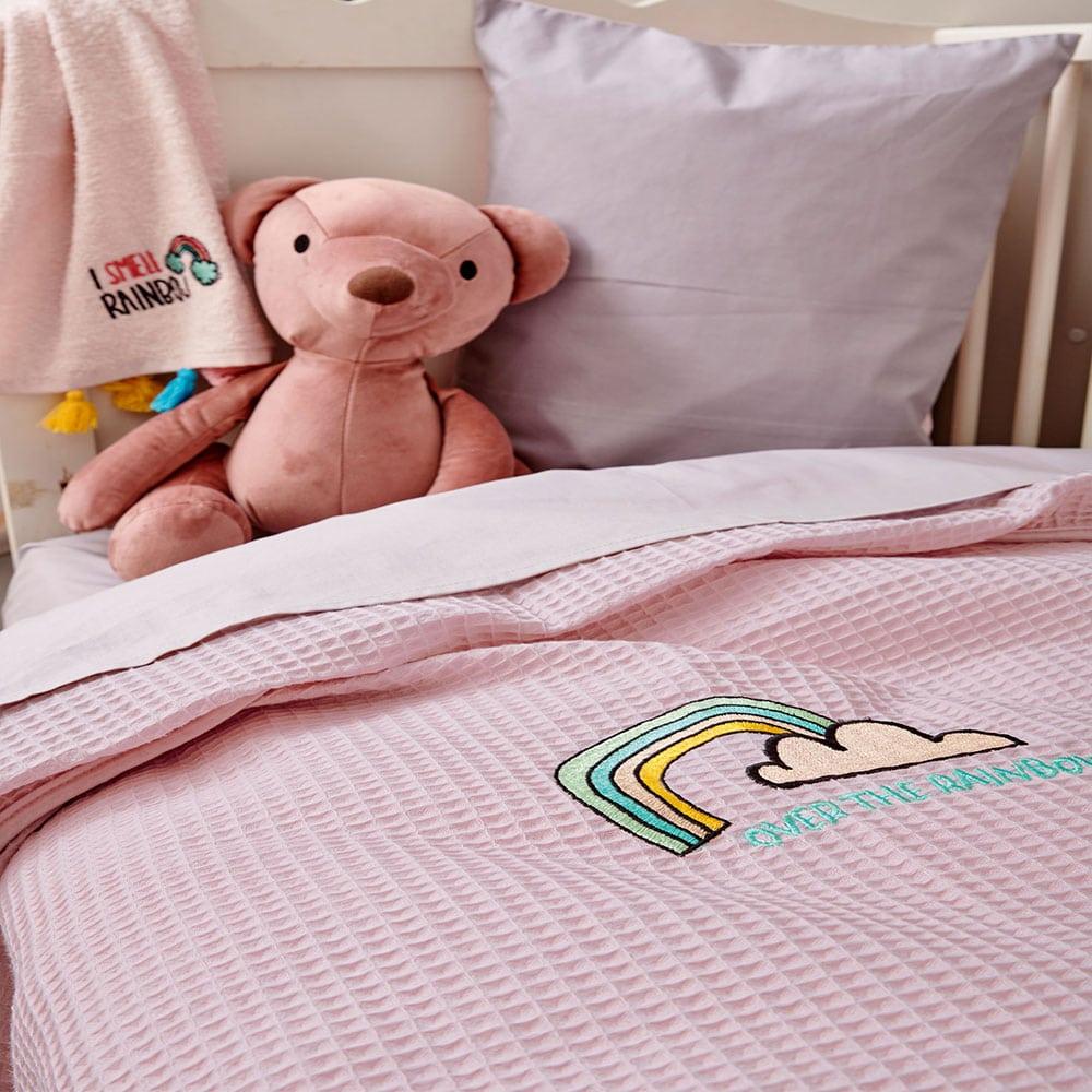 Κουβέρτα Βρεφική Pikelino Pink Palamaiki Κούνιας 110x150cm