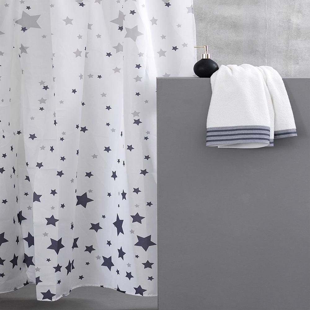Κουρτίνα Μπάνιου Celest White-Grey Palamaiki Φάρδος 180cm 180x180cm
