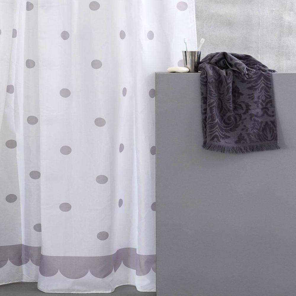 Κουρτίνα Μπάνιου Point White-Grey Palamaiki Φάρδος 180cm 180x180cm