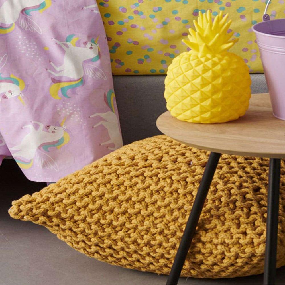 Μαξιλάρι Διακοσμητικό Δαπέδου (Με Γέμιση)- Πουφ Dexter Yellow Palamaiki 45X45 100% Βαμβάκι