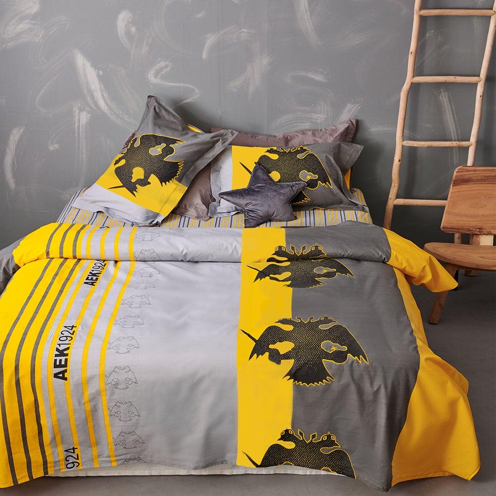 Παπλωματοθήκη Παιδική AEK 5 Σετ 2τμχ Yellow-Black Palamaiki Ημίδιπλο 160x240cm