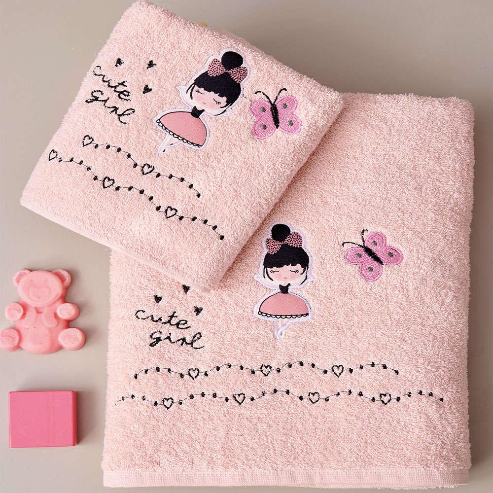 Πετσέτες Παιδικές Dancer Σετ 2τμχ Pink Palamaiki Σετ Πετσέτες 70x140cm