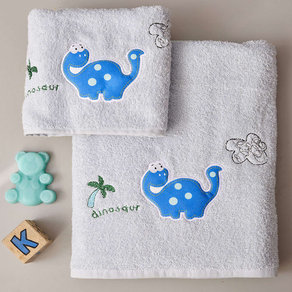 Πετσέτες Παιδικές Palm Σετ 2τμχ Grey-Blue Palamaiki Σετ Πετσέτες 70x140cm