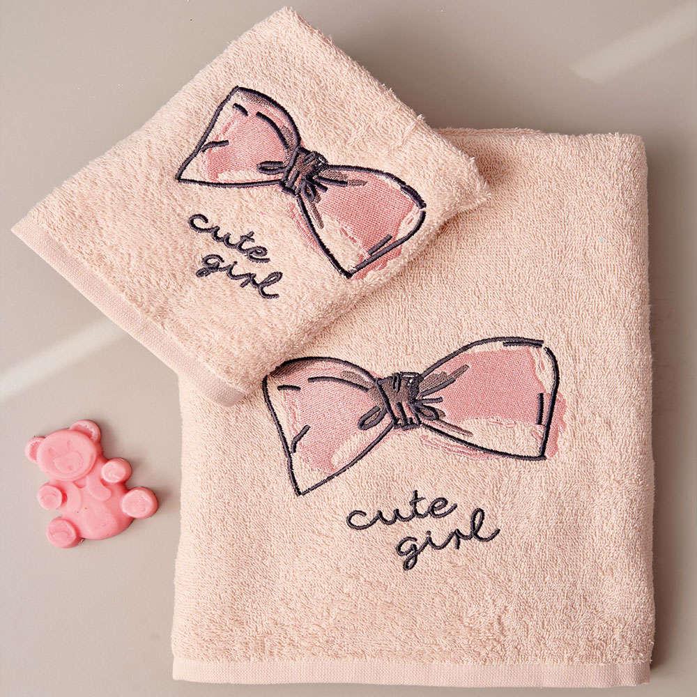 Πετσέτες Παιδικές Cute Σετ 2τμχ Pink Palamaiki Σετ Πετσέτες 70x140cm