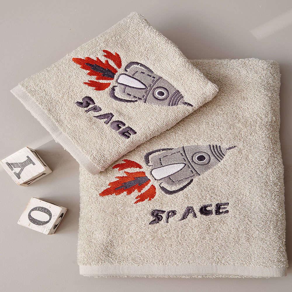Πετσέτες Παιδικές Space Σετ 2τμχ Beige Palamaiki Σετ Πετσέτες 70x140cm
