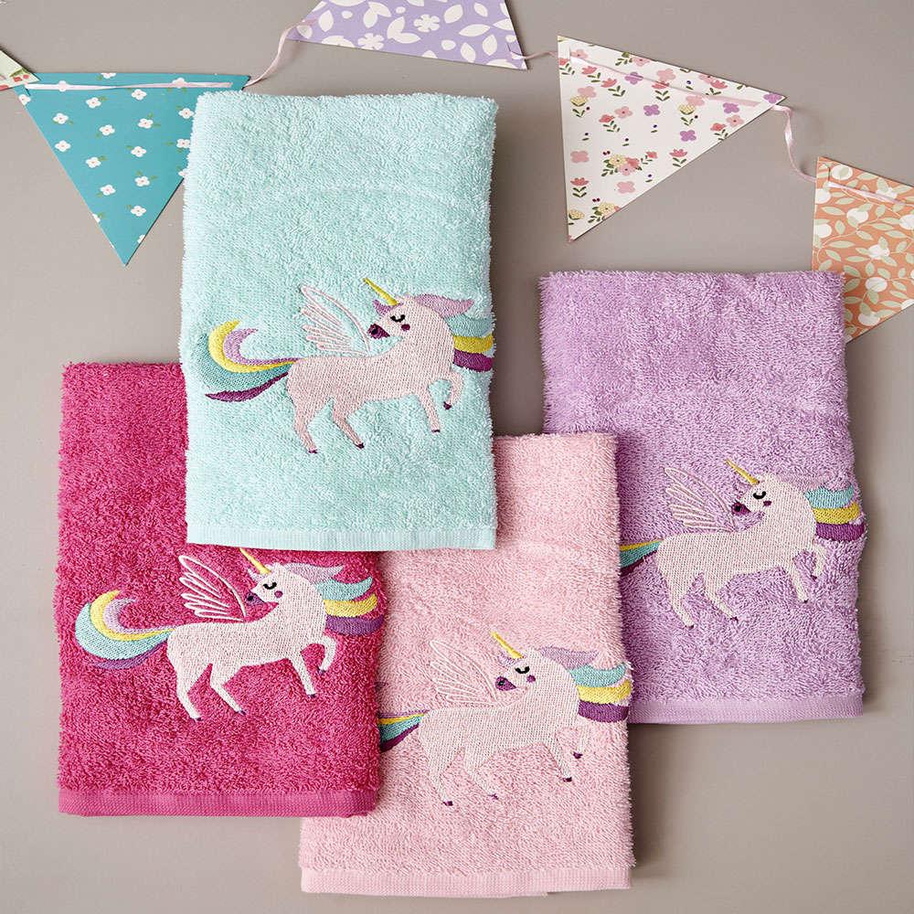 Πετσέτες Παιδικές Unicorn Magic Σετ 4τμχ Multi Palamaiki Σετ Πετσέτες